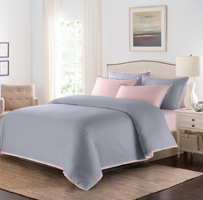 Постельное белье 1,5 спальное Sharmes Coctail жемчужно-серый/нежно-розовый  купить по выгодной цене в интернет магазине VipPostel