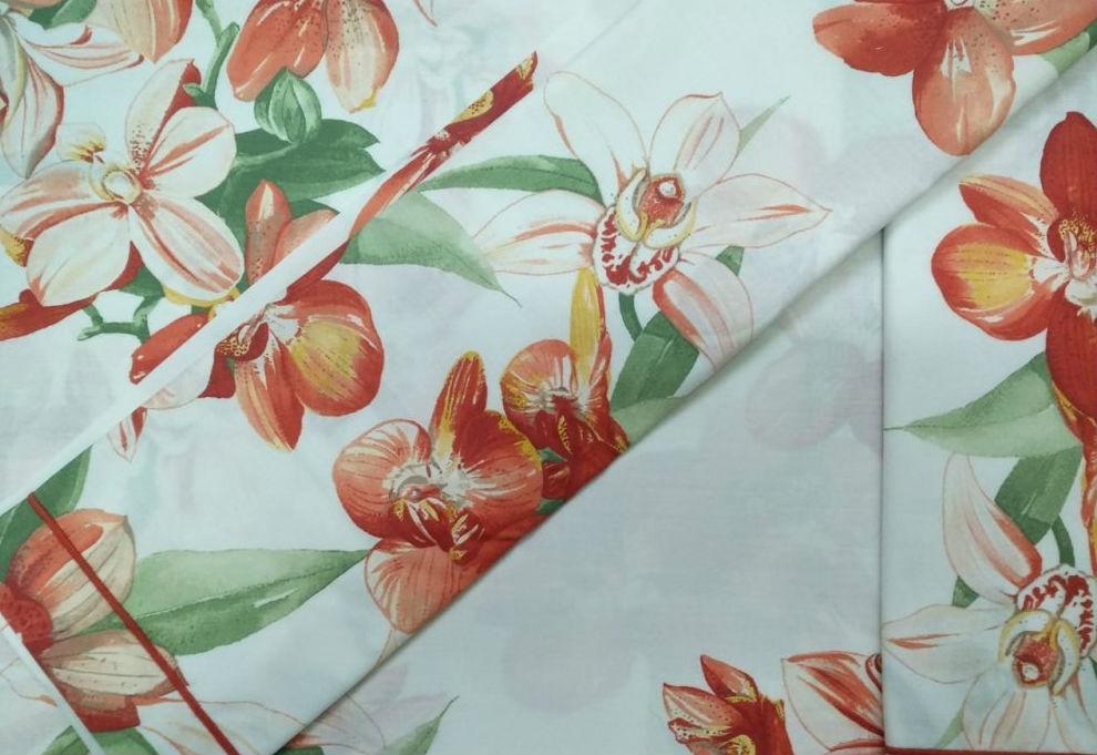 Постельное белье евро Vanilla от Mirabello ,красные цветы на белом