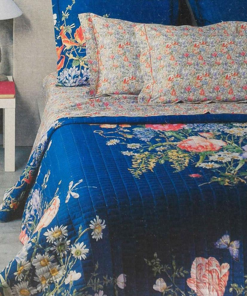 Постельное белье евро Fiore di estate v30U синий от Mirabello