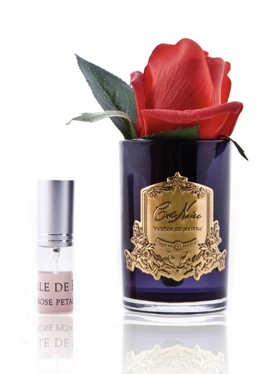 Ароматическая роза Cote Noir Rose bud, черная ваза, цвет красный