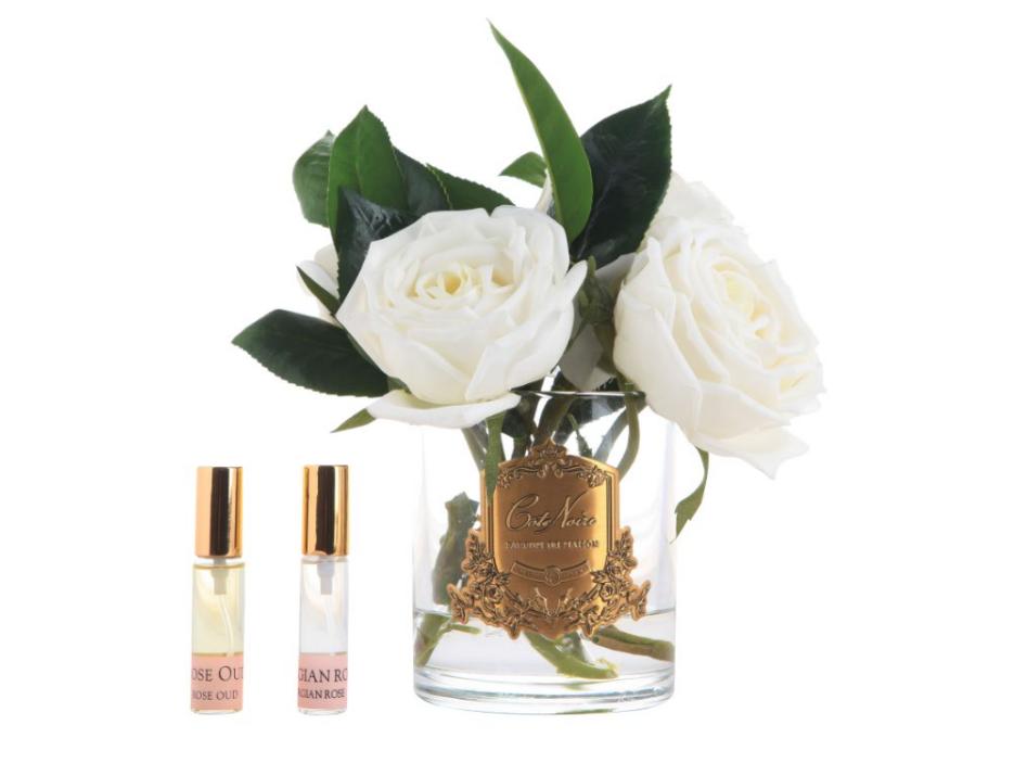 Букет из камелий и роз ароматизированный Cote Noir Orchid, прозрачная ваза, 2 спрея